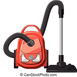 Red vacuum cleaner icon, cartoon style