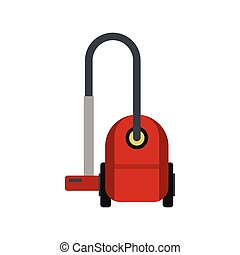 Red vacuum cleaner icon, flat style