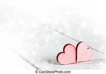 Red Valentine day hearts - Two wooden red painted Valentine...