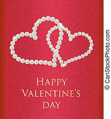 Red Valentine gift card with entwined hearts composed from ...