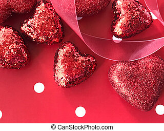 Red Valentine glitter hearts on polka dots