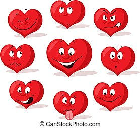 red valentine heart cartoon flat design character with many expression - vector illustration