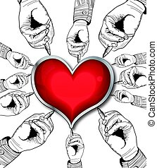 Red valentine heart drawing by hands. Retro vector...