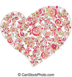 valentine heart in floral style isolated on background