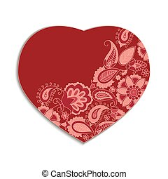 Red valentine heart in floral style