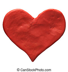 Red valentine heart made with plasticine