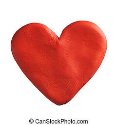 Red valentine heart made with plasticine