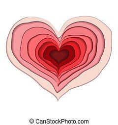 Red Valentine heart paper craft on white
