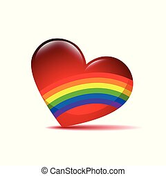 red valentine heart with rainbow