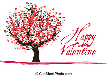 Red valentine tree with hearts and text