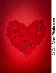 Red Valentines day heart - Romantic heart made of many...