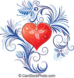 Red Valentines Heart - Red Heart With Blue Floral Ornaments...