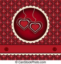 Red valentines scrapbook heart background
