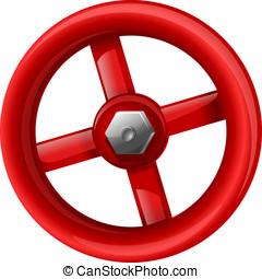 Red valve with bolt, eps10 illustration make transparent...
