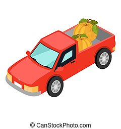 Red Van Pick-up Truck with Pumpkins Isolated - Red van...