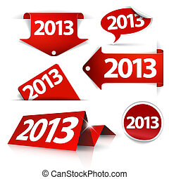 Red Vector 2013 Labels, stickers, pointers, tags - Vector...