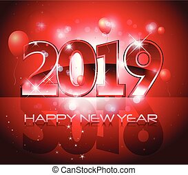 Red vector 2019 Happy New Year background
