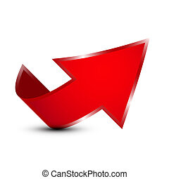 Red Vector 3d Up Arrow Icon Isolated on White Background