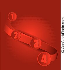 Red vector background with four steps on 3D wave