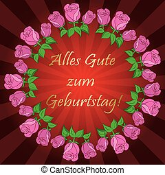 red vector background with roses and rays - Alles gute zum...