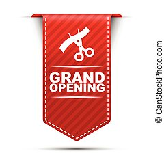 red vector banner design grand opening