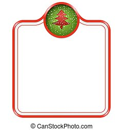 red vector box for text with Christmas tree