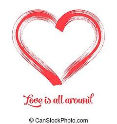Red vector brush stroke heart symbol