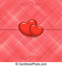 red vector card sealed with hearts