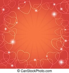red vector card with hearts for valentine day