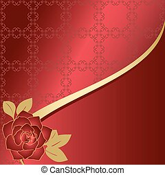 red vector card with rose