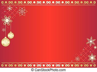red vector card with snowflakes