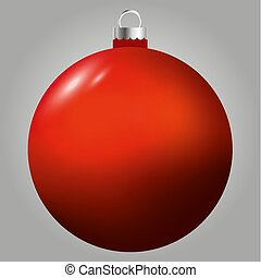 Red vector christmas ball isolated on grey background