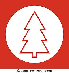 red vector christmas card with christmas tree