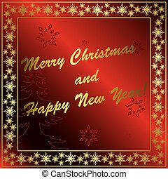 red vector christmas card with gold decorations