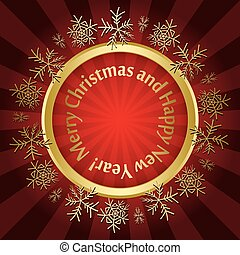red vector christmas card with round gold frame and snowflakes