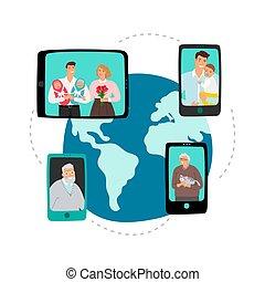 red, vector, comunicación, familia , global, vídeo, chat., concepto