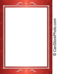 red vector decorative frame with white center