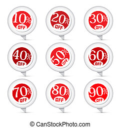 Red Vector Discount Stickers, Labels Illustration Set