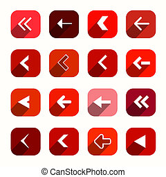 Red Vector Flat Design Arrows Set in Rounded Squares