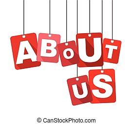 Red vector flat design background about us. It is well adapted for web design.