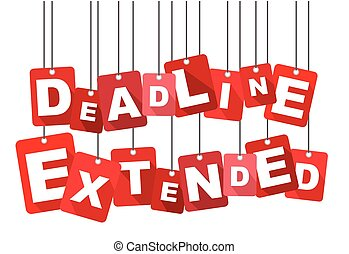Red vector flat design background deadline extended. It is well adapted for web design.
