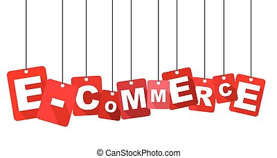 Red vector flat design background e-commerce. It is well adapted for web design.