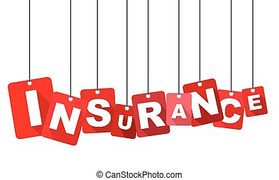 Red vector flat design background insurance. It is well adapted for web design.