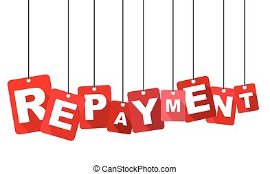 Red vector flat design background repayment. It is well...