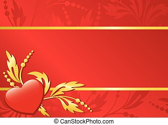 red vector floral card with heart