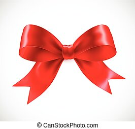 Red vector gift bow. Vector illustration