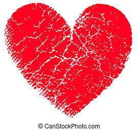 Red vector grunge heart - Red heart