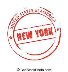 Red vector grunge stamp NEW YORK