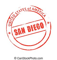 Red vector grunge stamp SAN DIEGO