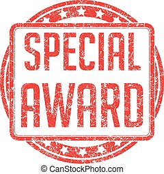 Red vector grunge style rubber stamp SPECIAL AWARD